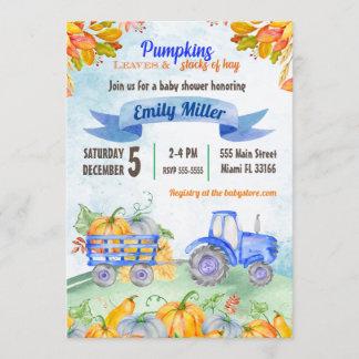 Watercolor Pumpkin Tractor Baby Shower Invitation