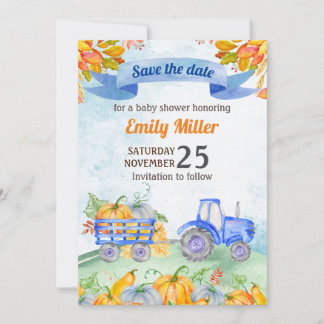 Watercolor Pumpkin Tractor Save the Date