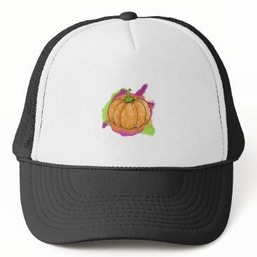 Halloween Themed Watercolor Pumpkin Trucker Hat