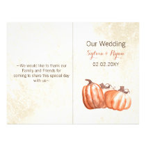 watercolor pumpkins bi fold Wedding program
