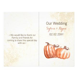 watercolor pumpkins bi fold Wedding program