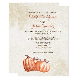 watercolor pumpkins fall harvest wedding card