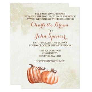 watercolor pumpkins fall harvest wedding invites