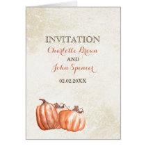 watercolor pumpkins fall harvest wedding invites card