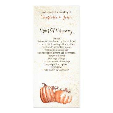 watercolor pumpkins fall harvest wedding programs