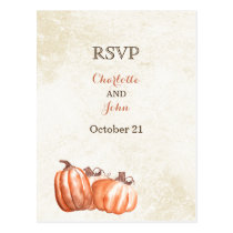 watercolor pumpkins fall harvest wedding rsvp postcard