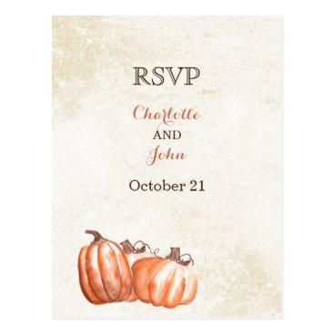 watercolor pumpkins fall harvest wedding rsvp postcard