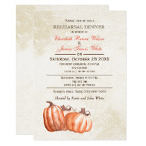 Watercolor pumpkins Fall rehearsal dinner invite