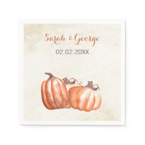 watercolor pumpkins Fall wedding napkin