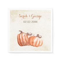 watercolor pumpkins Fall wedding napkin