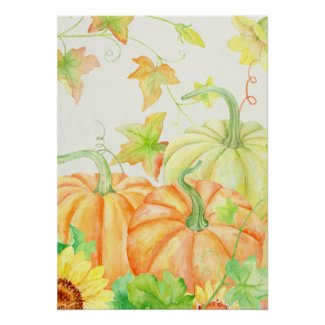 Watercolor Pumpkins Poster