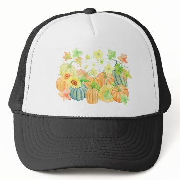 Halloween Themed Watercolor pumpkins thanksgiving trucker hat