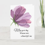 """Watercolor Purple Add Name Elegant Birthday Wishes Card<br><div class=""""desc"""">Flowers are always a simple beauty that adds a refined elegance to any card. This purple, lilac or lavender hued watercolor flower is no exception. If the recipient is having a milestone birthday just add which birthday it is inside the card between """"wonderful"""" and """"birthday"""". Like """"have a wonderful 50th...</div>"""