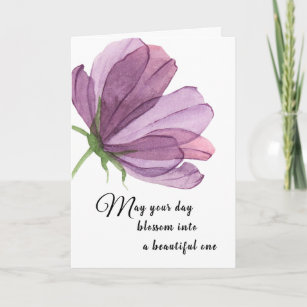 Watercolor Purple Add Name Elegant Birthday Wishes Card