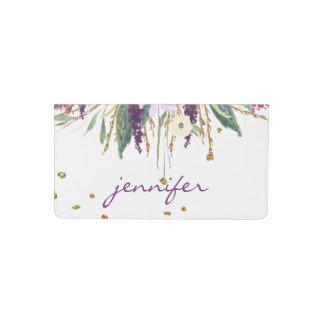 Watercolor Purple Amethyst Blossoms Gold Sparkles Checkbook Cover