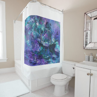 Watercolor purple and blue sailing ship shower curtain