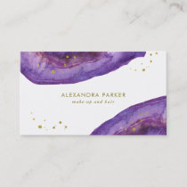 Watercolor Purple and Faux Gold Geode Business Card