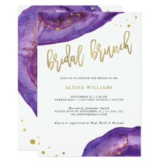 Watercolor Purple and Gold Geode Bridal Brunch Card