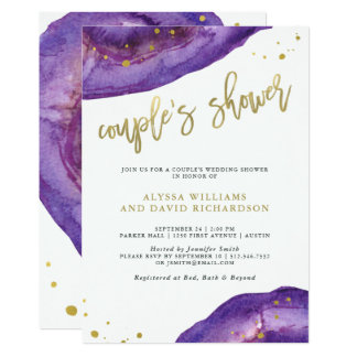Watercolor Purple and Gold Geode Couples Shower Card