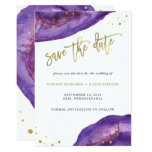 Watercolor Purple and Gold Geode Save the Date Card