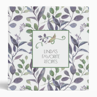 Watercolor Purple and Green Leaves Square Recipe | Binder