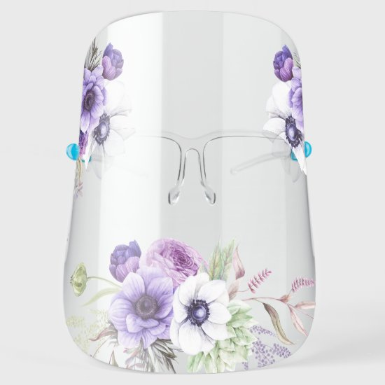 Watercolor Purple and White Anemones and Greenery Face Shield