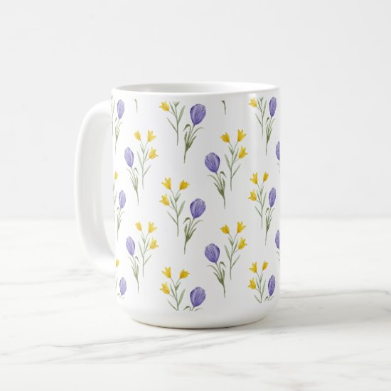 Watercolor Purple and Yellow Tulips Coffee Mug