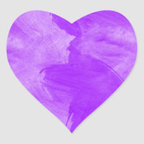 Watercolor Purple Brush Strokes Heart Sticker
