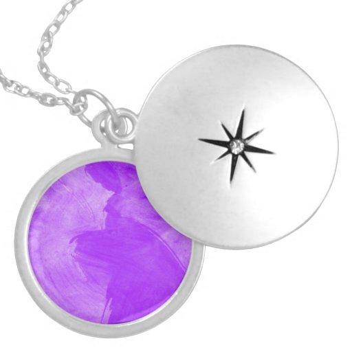 Watercolor Purple Brush Strokes Round Locket Necklace