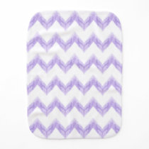 watercolor purple chevron zigzag pattern baby burp cloth