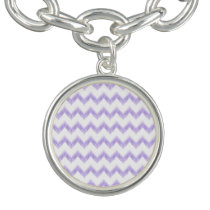 watercolor purple chevron zigzag pattern charm bracelets