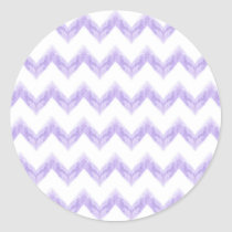 watercolor purple chevron zigzag pattern classic round sticker
