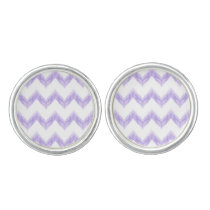 watercolor purple chevron zigzag pattern cufflinks