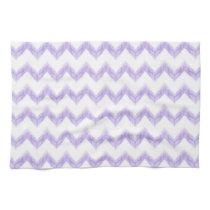 watercolor purple chevron zigzag pattern hand towels