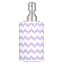watercolor purple chevron zigzag pattern soap dispenser and toothbrush holder