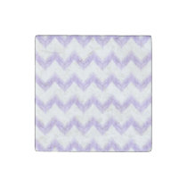 watercolor purple chevron zigzag pattern stone magnet