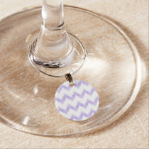 watercolor purple chevron zigzag pattern wine glass charm
