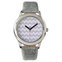 watercolor purple chevron zigzag pattern wristwatch