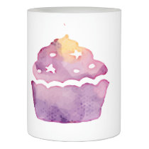 Watercolor Purple Cupcake Flameless Candle