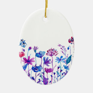 Watercolor Purple Field Flowers Ceramic Ornament