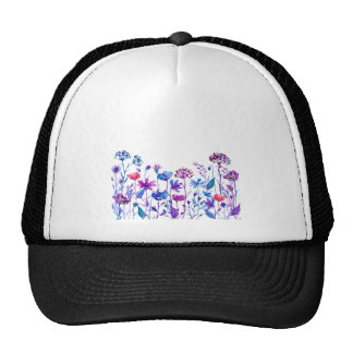Watercolor Purple Field Flowers Trucker Hat