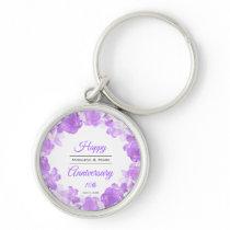 Watercolor Purple Floral Anniversary Wreath Keychain