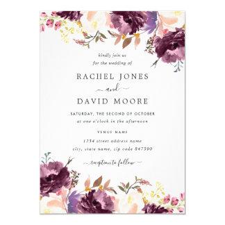 Watercolor Purple Floral Bloom Wedding Invitation