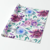 Watercolor purple floral. Boho flowers pattern Wrapping Paper