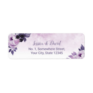 Watercolor Purple Floral Elegant Spring Wedding Label