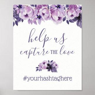 Watercolor Purple Floral Elegant Wedding Hashtag Poster