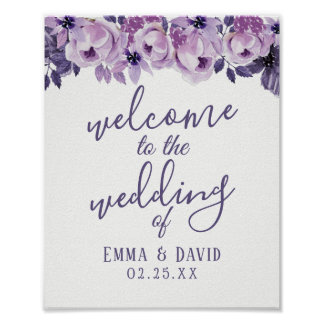Watercolor Purple Floral Elegant Wedding Welcome Poster