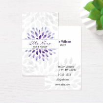 watercolor purple floral Makeup artist Card