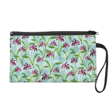 lauriekentdesigns Watercolor Purple Floral Pattern Wristlet Purse
