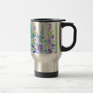 Watercolor Purple Floral Spikes Travel Mug